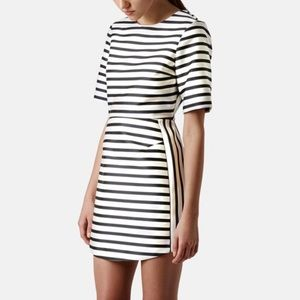 Topshop Natural Satin Stripe A-Line Dress